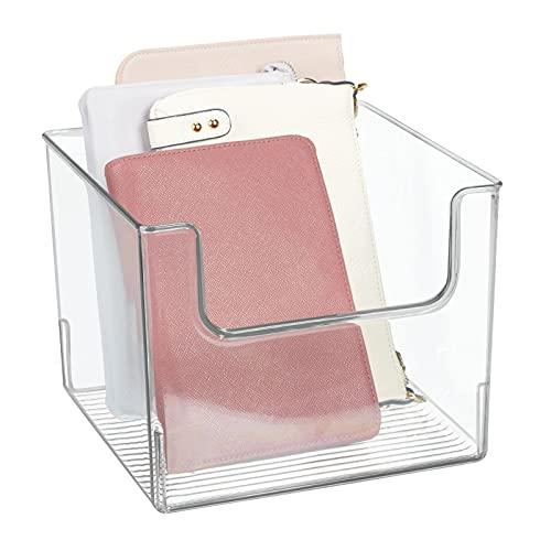 mDesign Caja de almacenaje – Práctico organizador de armarios para el dormitorio – Contenedor transparente de plástico, ideal para guardar ropa y accesorios – transparente