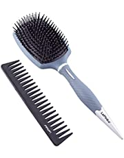 LePinko 13 Rows Hair Brush and Carbon Fiber Wide Tooth Comb Set, Super Sturdy Detangler Pack for All Hair Types, Even Black Curly Nature Hair, Great Both on Dry and Wet Hair, For Women Men and Kids