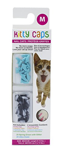 Kitty Caps Nail Caps for Cats   Safe, Stylish & Humane Alternative to Declawing   Stops Snags and Scratches, Medium (9-13 lbs), Black with Gray Tips & Baby Blue