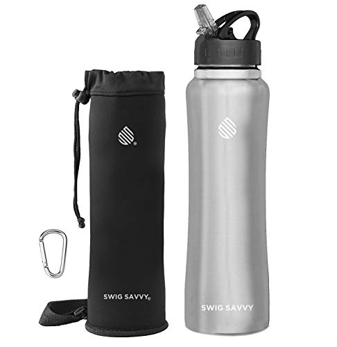 Swig Savvy Stainless Insulated Water Bottle Wide Mouth Large Capacity Double Wall Design With Leak Proof Flip Top Straw Cap - Including Water Bottles Pouch & Clip 32oz Steel
