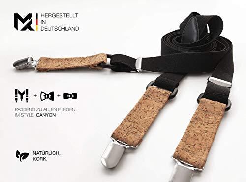 Hergestellt in Deutschland | MAY-TIE Hosenträger Schwarz mit Kork | Style: Canyon | 2.5cm Breite | Y-Form | stufenlos verstellbar | Geschenk für Ihn, Mann, Hochzeit, Geburtstag