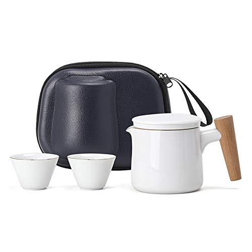 Servicio de té de viaje, taza de té de cerámica, taza de café, una tetera, dos tazas, tetera de casa, taza de pícnic, taza de cerámica al aire libre (juego de 3 piezas, blanco)