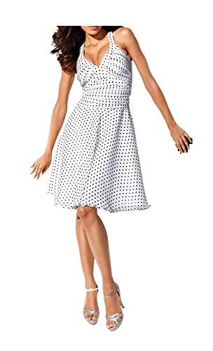 Carry Allen by Ella Singh Chiffon-Kleid im Marylin Monroe-Stil mit eingearbeitetem BH, weiß-schwarz (46)