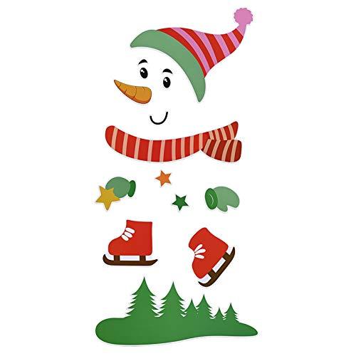 WWmily Christmas Snowman Frigorifero Decorazioni Grandi Natale Vacanze Frigorifero Magneti Adesivi per Frigorifero, Porta in metallo, Garage, Armadi Ufficio (rosso)