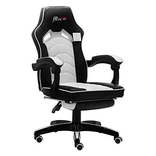 JR Knight Ergonomic Gaming Chair, Home Office Desk Computer Chair with Adjustable Armrests, Executive Swivel PU Leather Chair with Recliner and Footrest (Black&White)