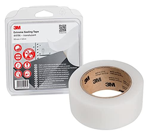 3M Hochleistungs-Dichtband 4411N - Haftung bei Kontakt auf vielen Metallen und Kunststoffen ohne Trocknungszeiten, Tropfen oder Verschmutzungen - 50mm x 5.5m, transluzent, Dicke 1.0mm (1 Pack)
