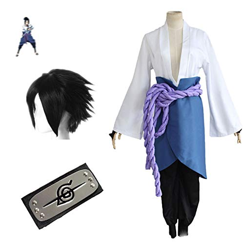 THWJSH Uchiha Sasuke Cosplay, traje uniforme para Halloween Anime Performance, top + delantal + pantalones + cinturn + protector de manos + frente + peluca M