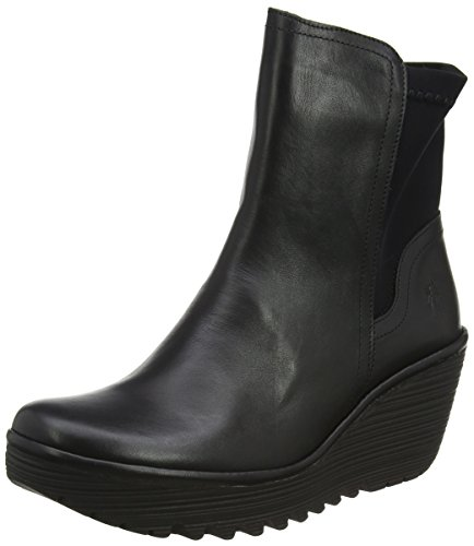 FLY London Womens Yuan Casual Winter Wedges Fashion Leather Ankle Boots - Black - 6