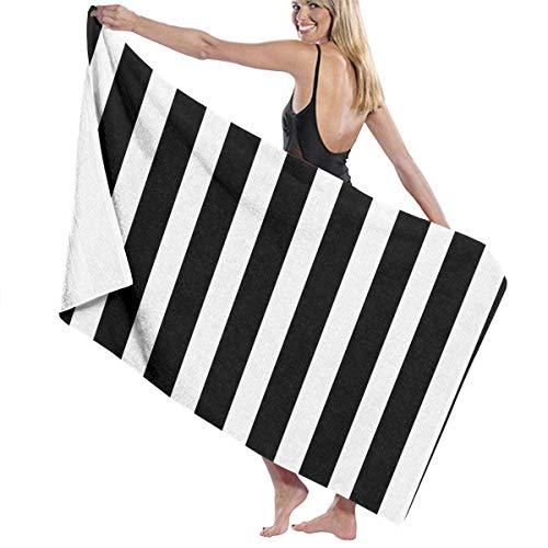 ZQHRS Toallas de baño Paños para el hogar, Hotel, SPA, Piscina Yoga - Toallas de Rayas Blancas y Negras, Ducha Suave y Absorbente y Toalla de baño Abrigo de Gran tamaño para Mujer - 32X52 Pulgadas