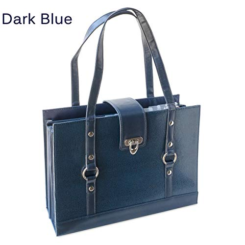 Texture Faux Leather File Organizer Tote -(Dark Blue)