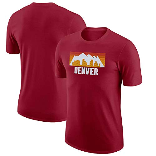 BMSD Camiseta para Hombre NBA Nuggets Jersey Rojo, Manga Corta, Cuello Redondo, Camisetas Casuales de Media Manga para Adolescentes, XX-Large