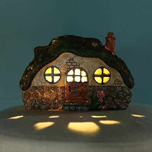 CAMPSLE Adornos solares para jardín al Aire Libre, casa de Hadas iluminada Estatua de jardín Adorno de Resina Impermeable para Decoraciones de Caminos de jardín