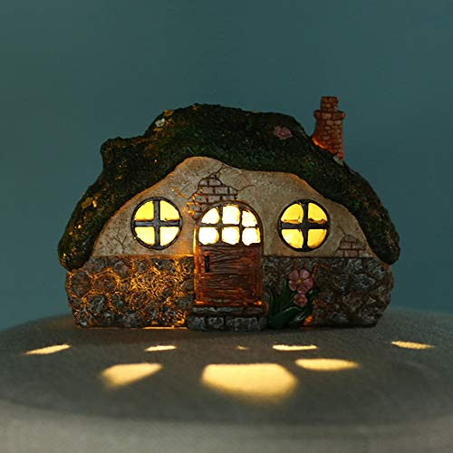 Verdelife Fairy House, Fairy Light House, Creative House, Landscape Lamp House, Solar Powered Illuminated Fairy House, Dwelling Garden Ornament with Light Control Induction Lights