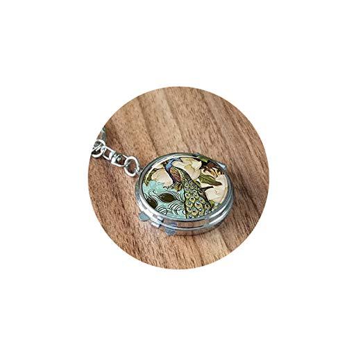 bab Schlüsselanhänger mit Pfauenmotiv, viktorianischer Stil, Schmuck, Spiegel, tragbar, kompakt, rund, Kosmetiktasche