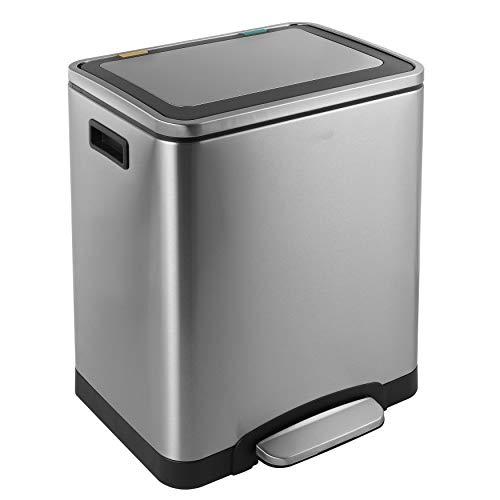 KITCHEN MOVE BAT-90301005/Portarrolla Doble Reciclaje de Acero Inoxidable 30 L con 2 Compartimentos (2 x 15 L) para desagües, jardinería, Cocina o contenedor selectivo, Metal, 40 x 33 x 52 cm