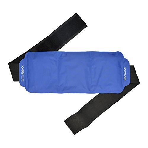 kwmobile Compresa de gel frío y caliente - Almohadilla ajustable reutilizable - Cinturón para calentar en microondas y enfriar en congelador - Azul