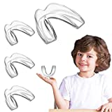 EastermCare Kids Mouth Guards for Teeth Grinding, Pack of 4 Bite Guards + Dental Guard Case, Eliminate Clenching Bruxism, Teeth Whitening Tray & Sports, Child Moldable Bite Guards(5-10 years old kids)
