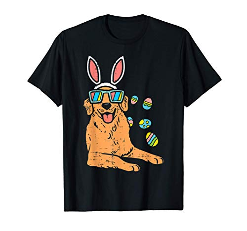 Golden Retriever Bunny Glasses Easter Eggs Dog Owner Lover Camiseta