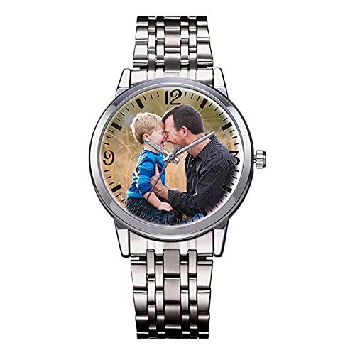 Reloj De Foto Personalizado Para Hombres Mujeres Reloj Personalizado De Pareja Reloj Grabado(Reloj de los hombres ajustable)