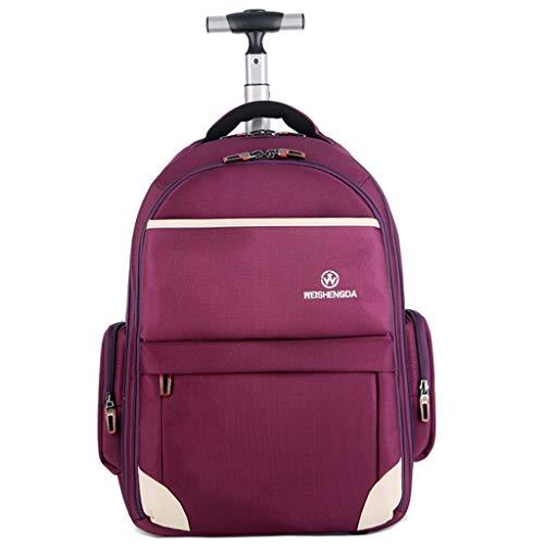 AWER rolrugzak, Oxford-rugzak op wieltjes, waterdichte laptoprugzak met wieltjes voor reizen, buitenshuis, trolley rugzak met hoge capaciteit tot 45 l, lila (19~21 inch)