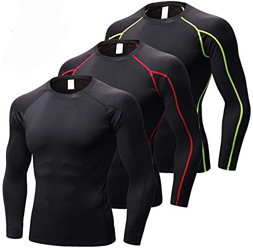 Yuerlian Men's Running Long Sleeve Tops, Cool Dry Compression Base Layer Shirts, Sports Workout Tops for Men