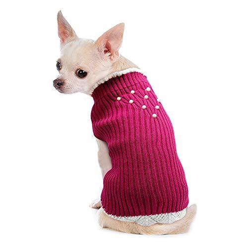 """PET ARTIST Klassischer Strickpullover für Hunde, für Frühling und Herbst, Winter, für Hunde, warme Hunde-Pyjamas – weicher Pullover für Mädchen und kleine Hunde und Katzen, Rot, Chest 10-15.5"""""""