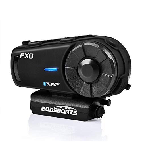 FODSPORTS バイク インカム FX8改良版 最大8人同時通話 FMラジオ付きインタコーム bluetooth HIFI高音質 防水 インカムバイク 無線機バイク いんかむ 2種類マイク 連続20時間通話 日本語音声案内 技適マーク認定済み