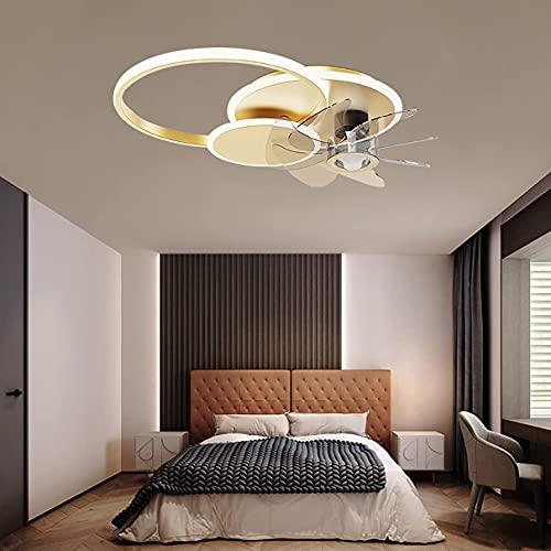 Ventilador de 48 W con luz de techo y mando a distancia, reversible, 6 velocidades, LED regulable, lámpara de techo con temporizador, ultra fina, moderna, silenciosa, para sala de estar, color negro