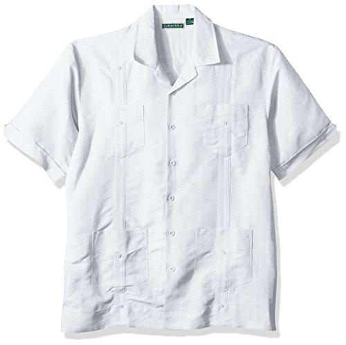 Cubavera Men's Cubavera Men's Short Sleeve Traditional Guayabera Woven Shirt, Gray Dawn, Small