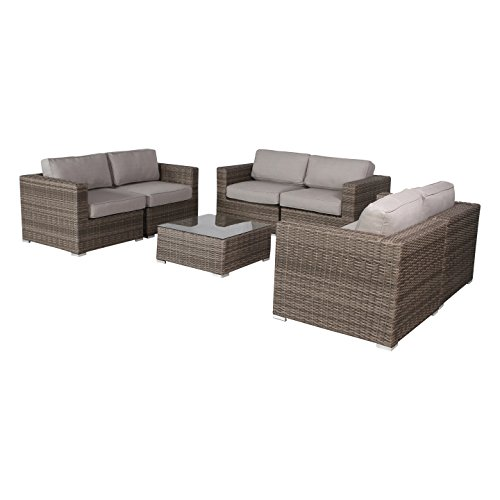Verona Outdoor Furniture Patio Sofa Couch Garden, Backyard, Porch or Pool All-Weather Wicker with Thick Cushions by Living Source International [CM-4314] (7-Piece Loveseat Style, Verona Grey)