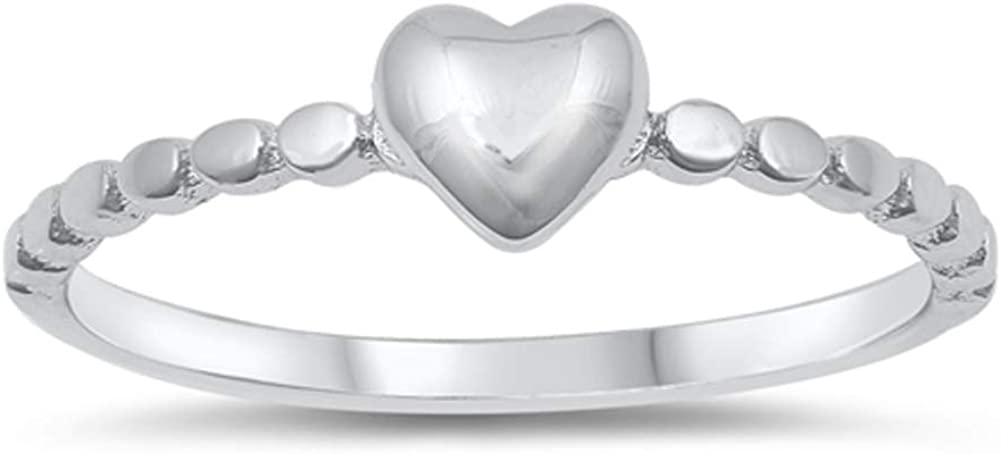 Puff Heart Love Promise Ring New Sizes Sterling .925 Silver Band Memphis 2021 Mall
