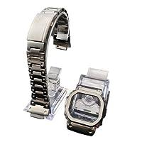 【ジーショック DW-5600 GW-M5610 G-5600 G-5000用】MY MODEL24 CASIO G-shock腕時計 社外互換品 カスタム 316Lステンレス ケースベルトセット メタリックグレー (5610)