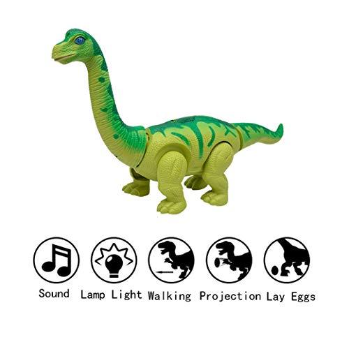 Yeelan Walking Dinosaur Lay Eggs Electric Walk Dino Raw Egg Toy con lámpara de proyección, luz LED y sonido para niños en edad escolar Niños Niño pequeño (brachiosaurus, color aleatorio, súper grande)