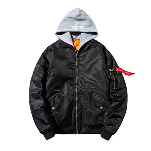 YiiJee Herren Jacke Verdicken Klassische Fliegerjacke Windbreaker Zipper Windproof Komfortable Jacke Schwarz XL