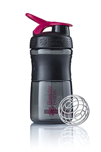 BlenderBottle Sportmixer Tritan Trinkflasche mit BlenderBall, geeignet als Protein Shaker, Eiweißshaker, Wasserflasche oder für Fitness Shakes, BPA frei, skaliert bis 500 ml, 590 ml, pink / schwarz