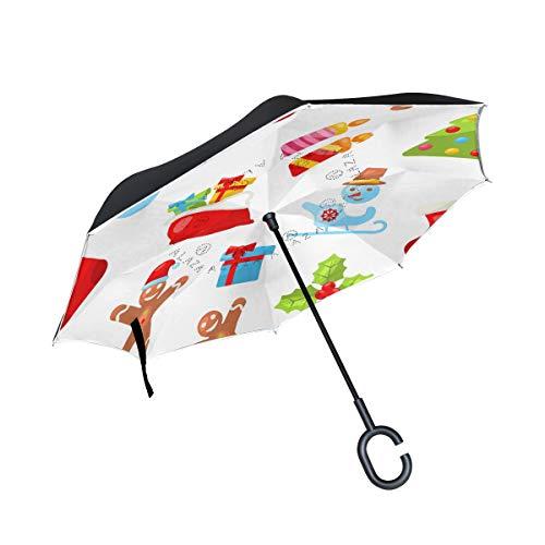 MALPLENA Glitzernder Weihnachts-Dekoration, Automatisch öffnender Regenschirm, umgekehrt, umgekehrt, für Damen/Herren/Auto/Regen im Freien, wasserdicht, Winddicht