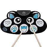 YLiansong-home Batería Electrónica Conjunto de Tambores electrónico, Roll up Tambor de Dibujos Animados Gato Juguete aprendiendo Pedal portátil Pedal para Niños Principiantes (Color : Blue)
