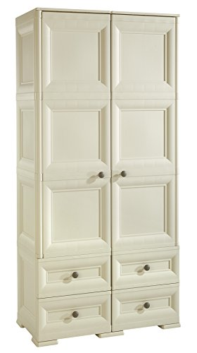 Tontarelli Omnimodus Armoire 2 Portes 4 tiroirs Plastique Gris Angora 79 x 47 x 164 cm