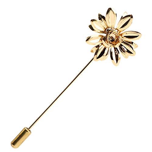 Soleebee Metallo Perno del Risvolto Spilla Fiore da Uomo con Revers Pin Fiore all'occhiello Bastone Spilla Accessori Boutonniere per Completo da Uomo (Rose)