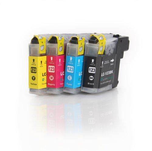 4x Compatible XL tinta cartuchos reemplazo for BROTHER LC-123 BK/C/M/Y con CHIP | 1x LC-123 BK/C/M/Y | para BROTHER DCP-J752DW; MFC-J870DW/ J6920DW / J4110 DW /J4410 DW/ J4510 DW/ J4610 DW/ J4710 DW