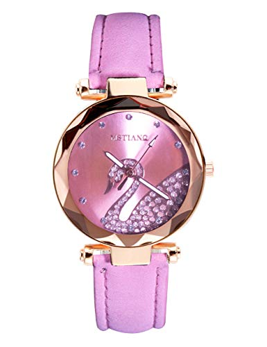 Damen Uhr Einfacher Leuchtend Diamant Damen Armbanduhr Leder Uhr Beiläufig Designer Mode Analoge Quarzuhren für Damen Mädchen Rosa