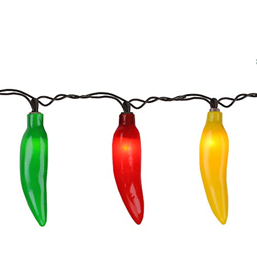 35-Count Red, Yellow and Green Chili Pepper String Light Set- 22.5 ft Brown Wire
