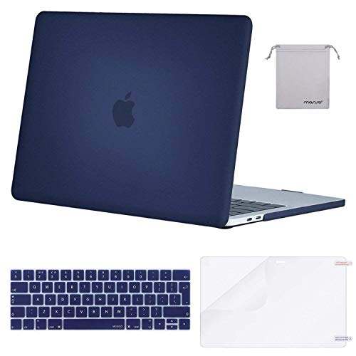 MOSISO MacBook Pro 15 inch Case 2019 2018 2017 2016 Release A1990/A1707, Plastic Hard Shell & Keyboard Cover & Screen Protector & Storage Bag Compatible with Mac Pro 15 Touch Bar, Navy Blue