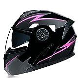 Casco de Motocicleta Abatible Integrado Cascos modulares de Moto de Visera Doble con Visera Completa para Hombres y Mujeres Adultos Dot/ECE Homologado (Color : Pink D, Size : S/Small 55-56cm)