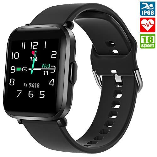Smartwatch, KUNGIX Armbanduhr Damen Herren Fitness Tracker mit Blutsauerstoff-Monitor(SpO2) Voller Touch Screen Fitness Armband, IP68 wasserdichte Fitness Uhr mit Herzfrequenz Schlaftracker für iOS