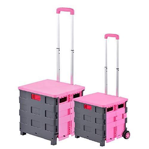 Risareyi Transit Folding Einkauf und Mehrzweckwagen mit Klappdeckel, zweirädrigen PP Kunststoff zusammenklappbarer Trolley Box, gebraucht zum Einkaufen Lagerung Home School Outdoor-Folding Einkaufswag