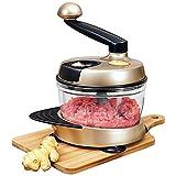 Mezcladores de soporte, picadora de carne mini picadora de 1,5 L, picadora de alimentos eléctrica para cortar frutas, patata, tomate, cebolla, ensaladas (champán dorado galvanizado1,5 l)