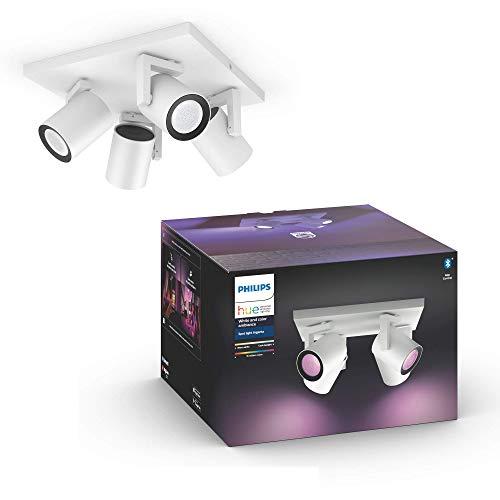 Philips Hue White & Col. Amb. LED 4-er Spot Argenta, weiß, dimmbar, 16 Mio. Farben, steuerbar via App, kompatibel mit Amazon Alexa (Echo, Echo Dot), 915005762201