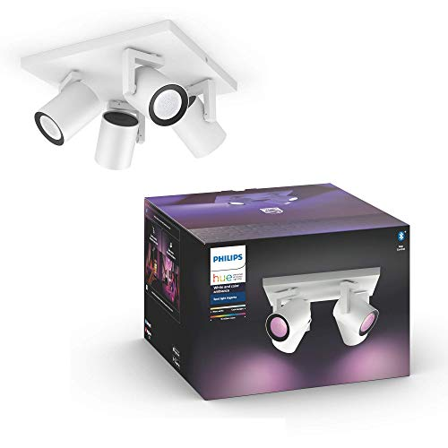 Philips Hue White & Col. Amb. LED 4-er Spot Argenta, weiß, dimmbar, 16 Mio. Farben, steuerbar via App, kompatibel mit Amazon Alexa (Echo, Echo Dot)