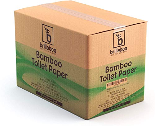 BrillaBoo Organic Bamboo Toilet Paper   100% Tree Free and Healthy   2 Ply, 300 Sheet Roll   Extra Long Rolls Hypoallergenic For Sensitive Skin   Plastic and Lint Free   Septic Safe…